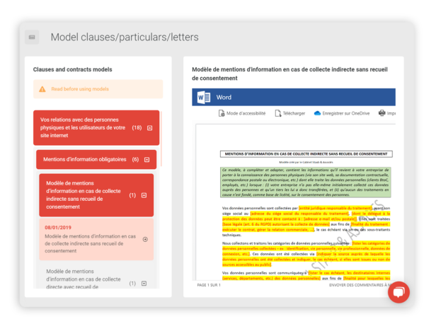 Find GDPR models of clauses & contracts
