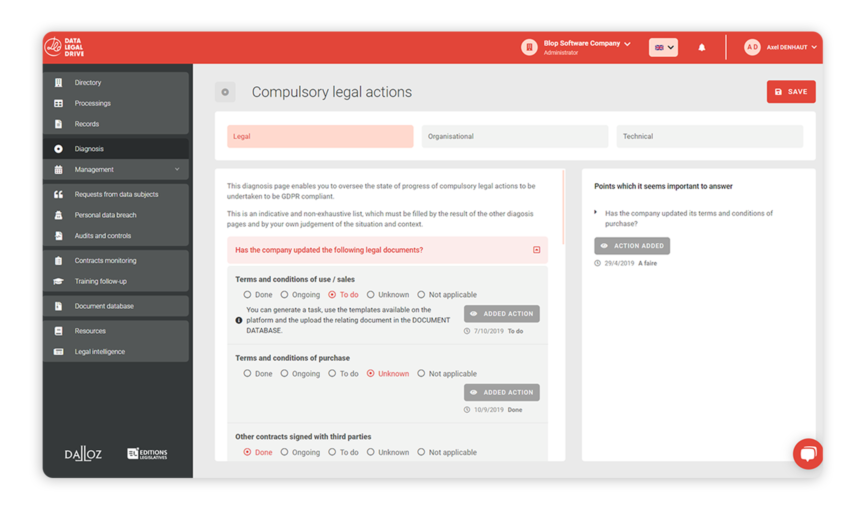 With DATA LEGAL DRIVE, make GDPR diagnosis of your GDPR Compliance